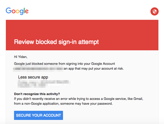 review blocked sign in attempt google